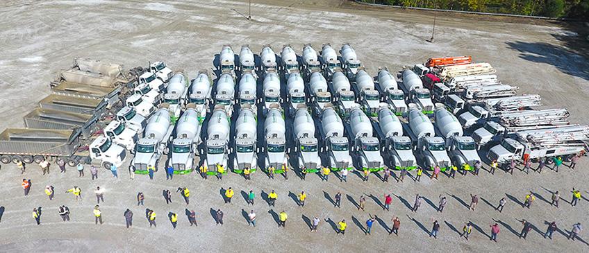 fleet of mixers and crew